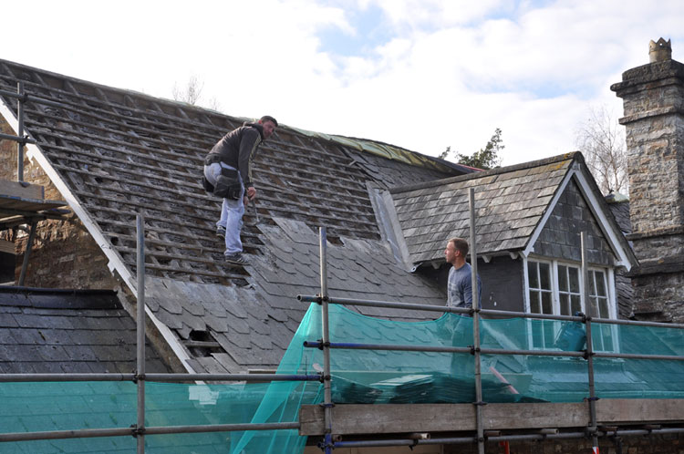 Old schoolroom - slates being removed