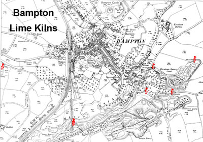 bAMPTON LIME KILNS MAP