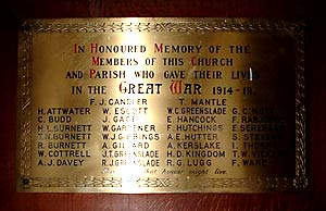 War memorial in Methodist church